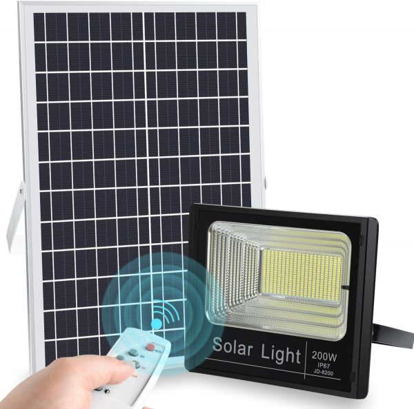 200W Solar Flood Light with Inbuilt Battery and Remote Control