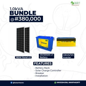 1kVA Bundle Image with Solar Panel, Inverter and battery pictures