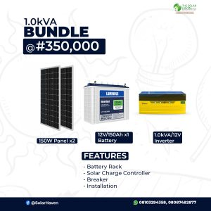 1.0kVA Bundle Image with Solar Panel, Inverter and battery pictures